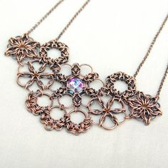 Bib necklace / copper jewelry / chainmaille necklace / handmade on Etsy, £48.48