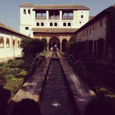"Patio de la Acequia. ""Acequia"" from the Arabic word for ""the water conduit."""