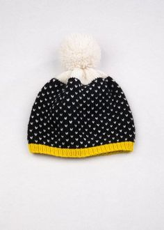 21d3464d346 Patterned Pom Pom Beanie Black   White Speckle Peruvian Highland Wool Say  hello to your new winter hat!