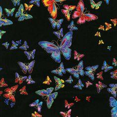 PlushAddict - Timeless Treasures - Black Butterflies Metallic - cotton fabric