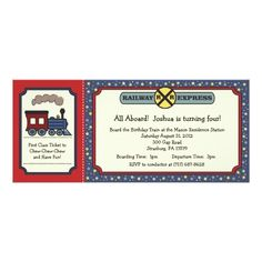 120 best train birthday party invitations images on pinterest train birthday party invitations train ticket invite rustic red blue 2 filmwisefo