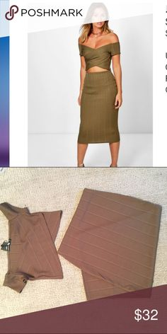 NWT: 2 piece bandage midi and crop size M New with tags 2 piece bandage set. Us size. 6. Off the shoulder crop top and midi skirt, iits a  true khaki color but looks brown in the photo. Unfortunately it was too big for me! From boohoo Missguided Dresses Midi