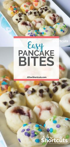 What a great grab and go breakfast idea! This Easy Pancake Bites recipe is just that easy! Can be made for anyones taste plus can be made gluten free!