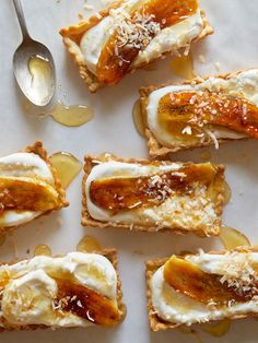 Banana, Coconut and Honey-Cream Tarts