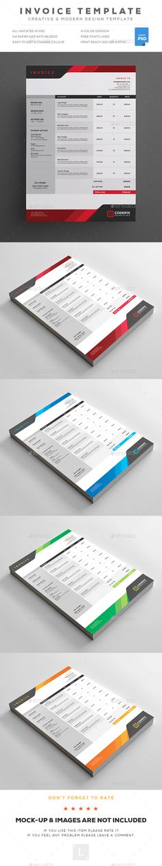 Invoice  — PSD Template #business letterhead #presentation • Download ➝ https://graphicriver.net/item/invoice/18318574?ref=pxcr