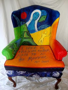 "Marc Chagall Chair with quote,  ""I work in whatever medium likes me at the moment"""
