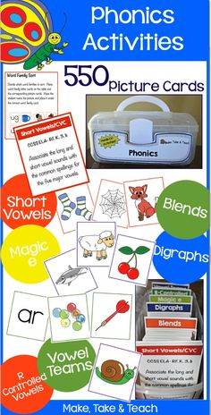 The Big Box of Phonics Activities. 550 picture cards/activities for teaching basic phonics concepts. Common Core aligned.