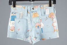 Vtg 60s 70s UNWORN Girls Maverick Denim Shorts Sz 12 1194 All Over Print | eBay