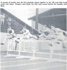 1950 track dual meet Idaho vs. Oregon at Hayward Field during 120 yard hurdles. From the 1950 Oregana (University of Oregon yearbook). www.CampusAttic.com