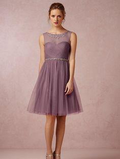 A-line/Princess Scoop Knee-length Tyll Bridesmaid Dress