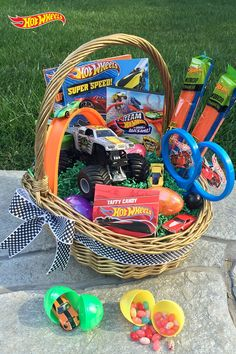 My 3 year old boys easter basket with no candy easter baskets leave average easter baskets in the dust blow his mind with a spectacular hot wheels negle Gallery