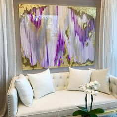 one of a kind large abstract artwork is textured with a mixture of acrylic paints, recycled glass, and resin coating to create a truly unique and serene abstract original. The painting has a glass coat layer of epoxy resin to add a thick high gloss sheen to piece. Looks beautiful in
