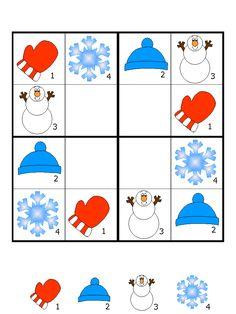 çocuklar için keyifli renkli sudoku sayfaları Kindergarten Writing, Kindergarten Activities, Preschool Activities, Sudoku Puzzles, Printable Puzzles, Coding For Kids, Math For Kids, Kids Math Worksheets, Winter Crafts For Kids