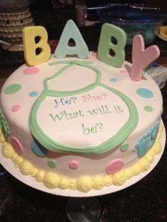 Really fun baby gender reveal cake