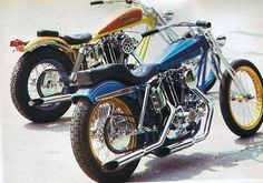 two ironhead sportster swingarm customs, one blue with gold rims, the other yelow & red Harley Davidson Chopper, Harley Davidson Motorcycles, Custom Motorcycles, Custom Bikes, Classic Bikes, Classic Cars, Ironhead Sportster, Digger, Album