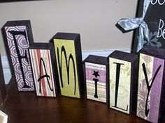 Wood block, scrapbook paper and lots of ideas for this craft.