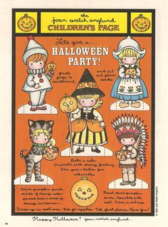 1985 1986Here are two pages of Halloween Cut out dolls from Joan Walsh Anglund. October is...