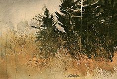 cedars in Autumn Field - watercolor