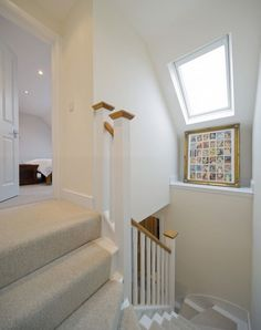 This Mansard loft conversion has included a roof window in the stairwell to brighten up the space with daylight and starlight. Attic Loft, Loft Room, Bedroom Loft, Attic Library, Attic Ladder, Attic House, Attic Playroom, Loft Conversion Stairs, Loft Conversions