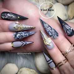 30 Fab Ideas for Stiletto Nails Designs: Create Your Look ❤ Geometric Nail Art For Stilettos picture 3 ❤ Get your daily dose of nailspiration with our collection of designs for stiletto nails. These ideas will show you the best ways to create statement nails. https://naildesignsjournal.com/stiletto-nails-hip-ideas/ #nails #nailart #naildesign #stilettonails