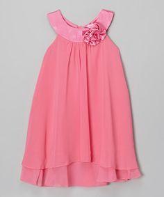 Look what I found on #zulily! Fuchsia Flower Yoke Dress - Toddler & Girls #zulilyfinds