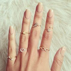 Neutral nails #mani & gold knuckle rings #jewelry