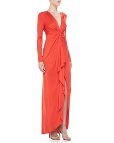 Long-Sleeve Ruffle-Front Gown  by Catherine Malandrino at Neiman Marcus.