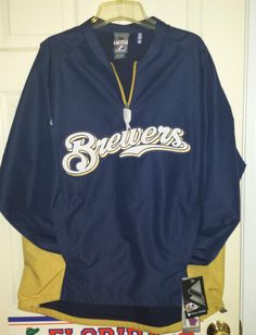 NEW Majestic Milwaukee BREWERS MLB Baseball Game Training Jacket Men's Medium M #Majestic #MilwaukeeBrewers Baseball Gear, Baseball Games, Mlb Jackets, Milwaukee Brewers, Mans World, World Series, Pullover, Best Deals, Sweatshirts