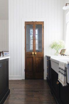 Wood Pantry Doors in Modern Farmhouse Kitchen Kitchen Pantry Doors, Glass Pantry Door, Sliding Glass Door, Kitchen Pantries, Glass Doors, Wooden Pantry, Pantry Diy, Custom Pantry, Galley Kitchens
