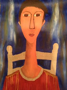 Self portrait with elongated neck inspired by Modigliani!