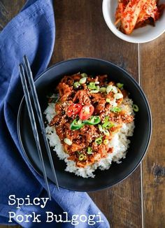 Spicy pork bulgogi is a popular Korean pork stir fry dish that is slightly spicy but also sweet. It is great for BBQ or over rice! Spicy Recipes, Pork Recipes, Asian Recipes, Cooking Recipes, Healthy Recipes, Asian Dinner Recipes, Korean Dishes, Korean Food, Chinese Food