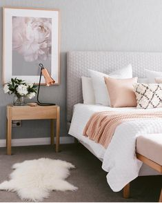 Cozy Blush & Gray Bedroom designed by @designdevotee - Blush Leather Cushion Throw Pillow by @kateandkatehome - Home Interiors - Bedroom Inspiration