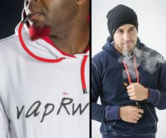 VapRwear smokable hoodies. This vapRwear hoodies all have hookah-like drawstrings at their necks that connect to included DLo3 vaporizer for discrete toking.