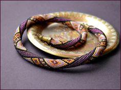 """Bead Crochet Necklace """"Honey and purple"""". $90.00, via Etsy."""