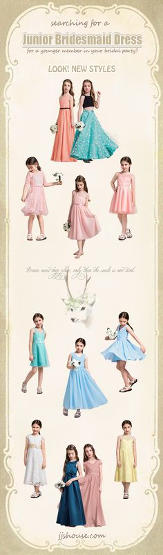 Searching for a Junior Bridesmaid Dress for a younger member in your bridal party? LOOK NEW STYLES! #Juniorbridesmaiddress