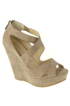 Chinese Laundry Motion Strappy Wedges in Taupe Oil
