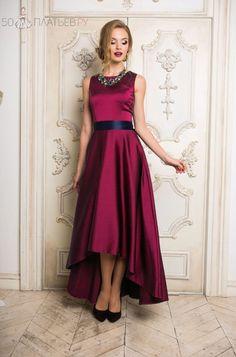 """Атласное платье со шлейфом цвета марсала """"Винона"""""""