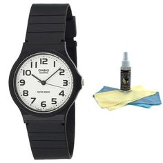 Casio MQ24-7B2 Men's Classic Casual White Dial Black Resin Strap Quartz Watch with 30ml Ultimate Watch Cleaning Kit