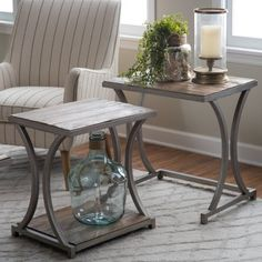 Belham Living Edison Reclaimed Wood Nesting Tables   Save Space And Add  Industrial Glam Style To Your Living Room Decor With The Belham Living  Edison ...