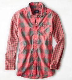 Red AEO Longer Length Plaid Shirt