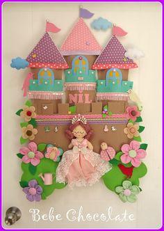 felt castle, felt baby wreaths, felt princess, melek kanadı anı defteri, keçe balerin, balerin kapı süsü, felt, handmade, baby wreath ideas, felt castle baby wreath for hospital door, 90 x 70 cm