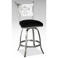 Chintaly Imports Andrea Memory Swivel Bar Stool in Nickel Plated