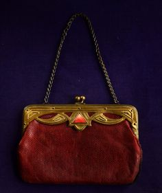 1920s Art Deco Egyptian Revival Leather Purse, Enamel, Brass (sold)