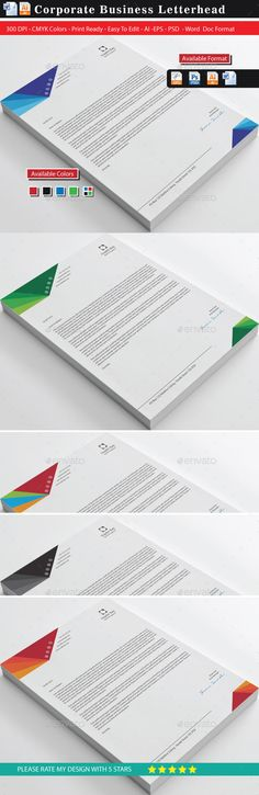 Buy Modern 20 Business Letterhead by shujaktk on GraphicRiver. Product Description of Modern 20 Business Letterhead: Modern 20 Business Letterhead is a best design for office, offi. Stationery Printing, Stationery Design, Letterhead Design, Branding Design, Business Letter, Business Cards, Show Me The Money, Print Templates, Design Templates