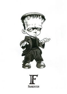 F is for Frankenstein - Tiny Creatures Alphabet (by David G. Forés) - Original drawing for sale: www.untipoilustrado.com/shop Horror Cartoon, Horror Art, Horror Movies, Creepy Art, Creepy Dolls, Scary, Halloween Drawings, Halloween Art, Zombie Drawings