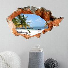Adesivi murali 3d bella estate spiaggia pvc decalcomanie della parete lavabile – EUR € 15.67