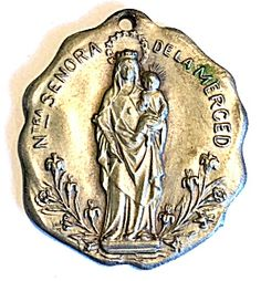 Large Antique Silver Holy Medal Our Lady of Mercy Virgin Mary (Image1)Rare Antique Art Nouveau Spanish Medal, dated 1912, featuring the Blessed Mother Virgin Mary and the Christ child Jesus as Our Lady of Mercy. Large size is perfect for a man. Free form edges. Matte silver finish