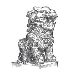 'Chinese Stone Lion' by zymogens Iphone Wallet, Iphone Cases, Lion Sketch, Lion Illustration, Stone Lion, Animal Statues, Spring Festival, Festival Posters, Classic T Shirts