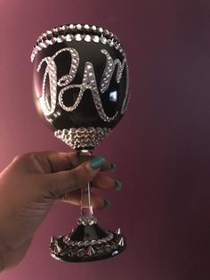 Items similar to Painted - 21 ounce wine glass with silver embellishments. Can be personalized and painted in your color choice. on Etsy Glitter Wine Glasses, Wedding Wine Glasses, Diy Wine Glasses, Decorated Wine Glasses, Painted Wine Glasses, Glitter Bottles, Bling Bottles, Champagne Glasses, Wine Glass Crafts
