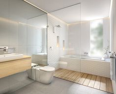 Coastal Zen bathroom White and timber bathroom with grey floor tiles featuring my favourite - hexagon tiles